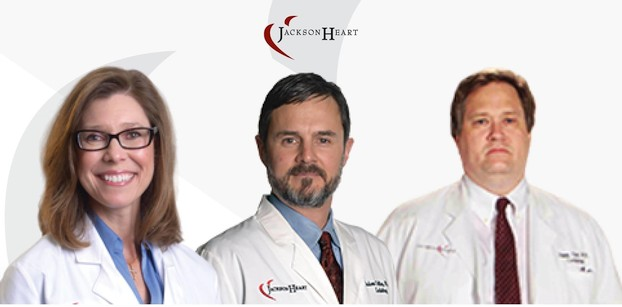 photo of electrophysiology team: Dr. Sandra S. McCearley, Dr. Judson Colley, III and Dr. Jimmy Lott