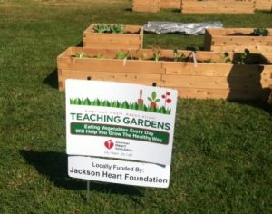 Sign for Teaching Gardens at Gardens Casey Elementary school